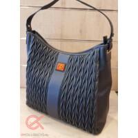 Nobo kék, cikk-cakk varrásos táska