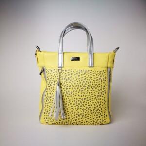 Diva Collection dupla zippes sárga kézitáska