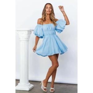Puffos ujjú vászon ruha-kék