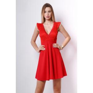 Csipke ruha piros A vonalú