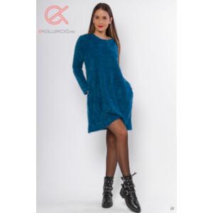 Tunika/Ruha kötött kék zsebes
