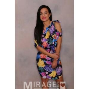 Mirage ruha Miquel derekán és nyakán megkötős trópusi mintás