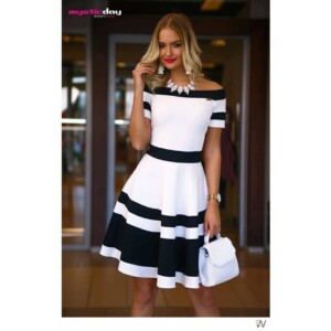 Mystic Day Mini vállra húzható ruha-sötétkék-fehér