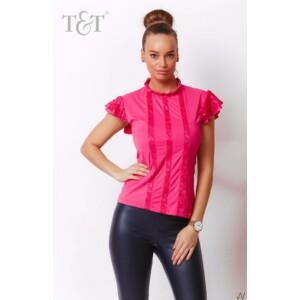T&T póló Zorah elöl csipkebetétes fodros pink