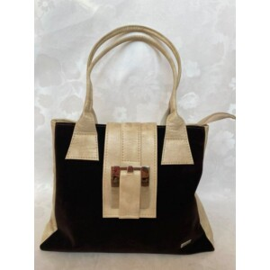 Rostbőr táska fekete-bézs