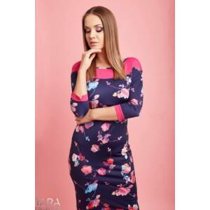 Tara sötétkék-pink virágos ruha