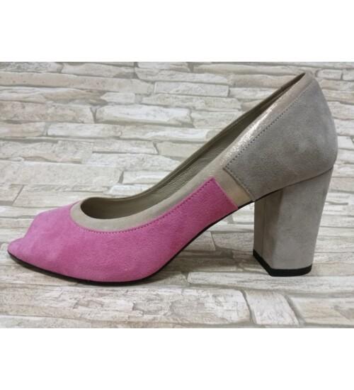 Rosa Bianca félcipő bézs-pink