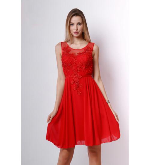 Piros csipkerátétes, köves A vonalú ruha
