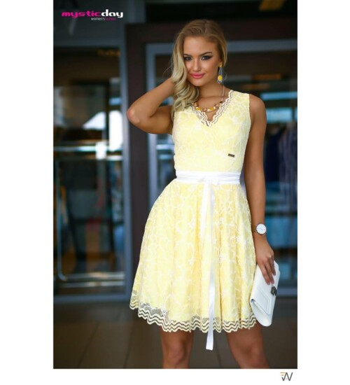 Mystic Day ruha fodros csipke sárga