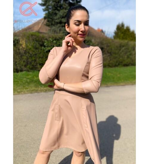T&T ruha Doreen A vonalú bőr bézs