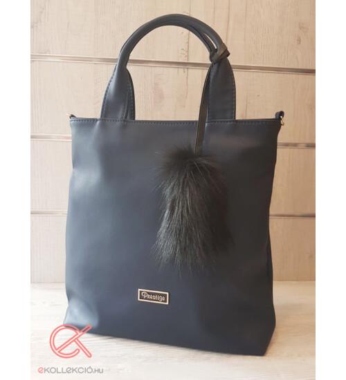 Prestige táska sötétkék szőrmés dísszel