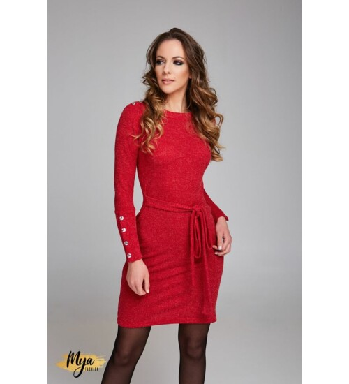 Mya piros gombos vállú ruha