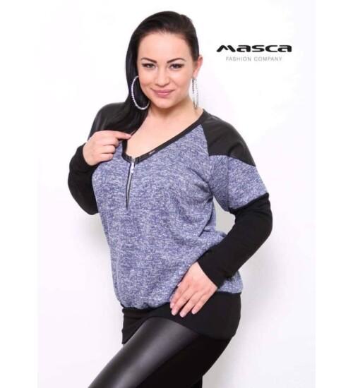 Masca V kivágású zipzáros kötött anyagú pulóver