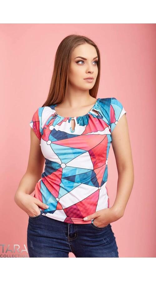 79cba7c0ef Tara geometriai mintás bogyós nyakú póló Katt rá a felnagyításhoz