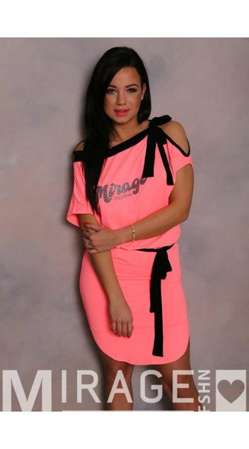 e92964566b Rövid ruhák Mirage ruha Miquel derekán és nyakán megkötős neon
