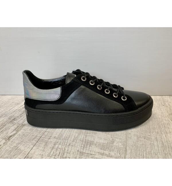 Carla Ricci platformos cipő fekete-ezüst