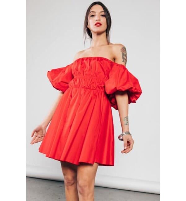 Puffos ujjú vászon ruha-piros