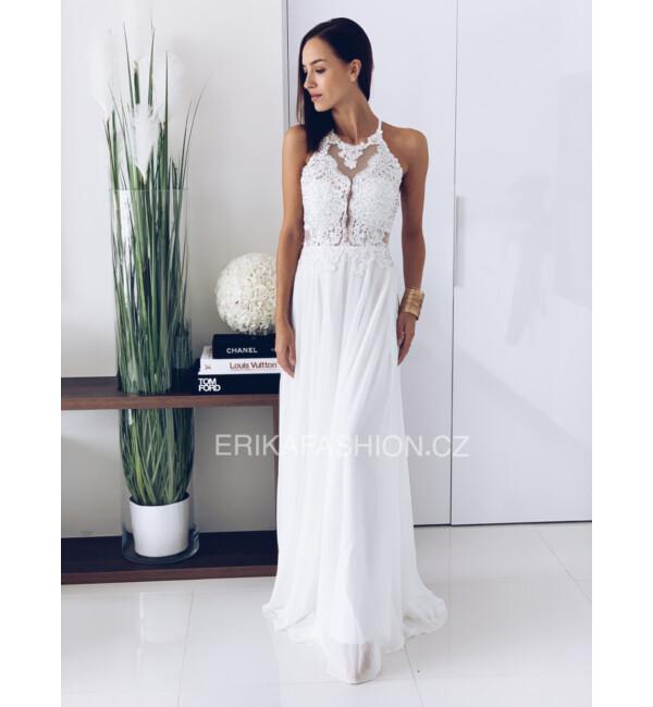Kövekkel díszített hosszú muszlin ruha fehér