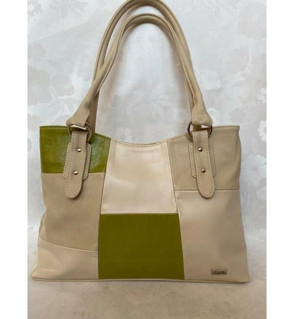 Rostbőr táska zöld-bézs